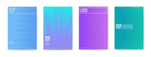 Set di manifesti di cartelli di carte creative astratte. design alla moda con gradiente di mezzitoni per banner, copertina, invito. opuscolo hipster, volantino, depliant. illustrazione vettoriale