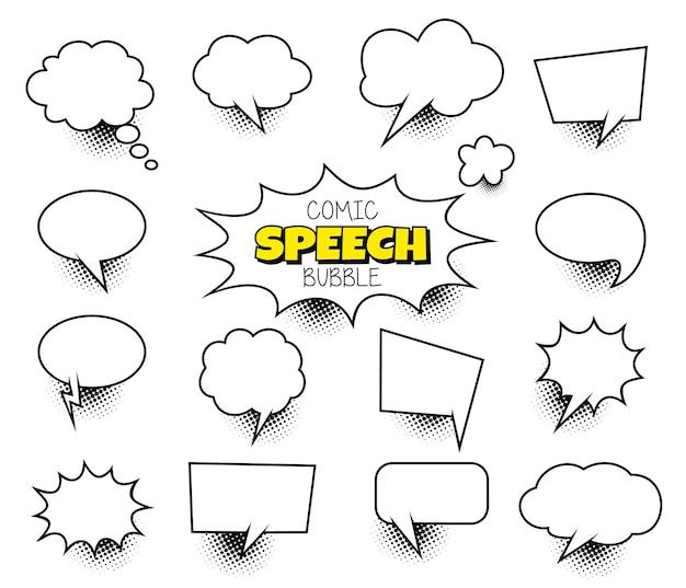 Modello di layout vuoto in stile pop art di fumetti di vettore di concetto creativo astratto con travi di nuvole e is