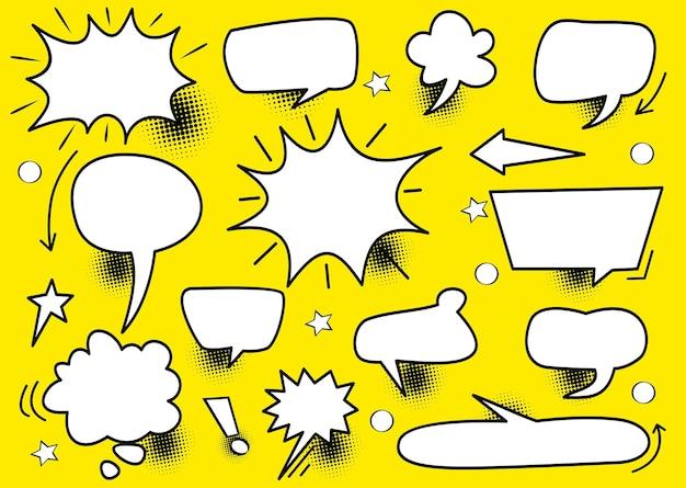 Modello di layout vuoto in stile pop art di fumetti di vettore di concetto creativo astratto con nuvole