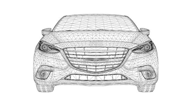 Linee di auto sportive 3d creative vettoriali astratte collegate a punti.