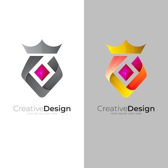 Modello di progettazione di logo astratto corona, 3d colorato