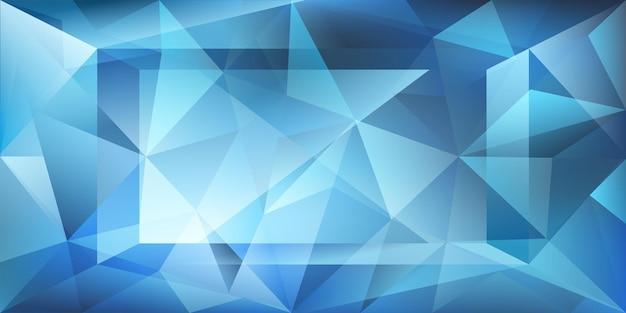 Sfondo di cristallo astratto con luce rifrangente e punti salienti in colori blu chiaro
