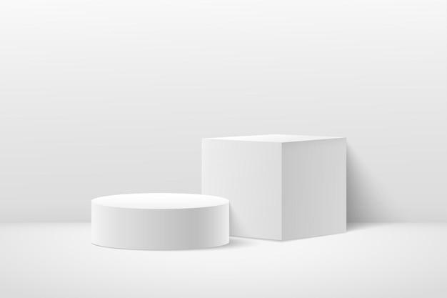 Cubo astratto e display rotondo per la presentazione del prodotto