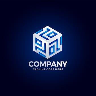 Colore brillante di forma astratta del cubo per tecnologia, affari, società. modello di progettazione del logo