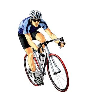 Ciclista astratto su una pista da schizzi di acquerelli colorati disegno atleta su una bici