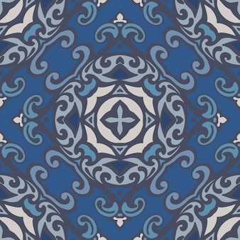 Reticolo ornamentale senza giunte della mandala astratta del damasco per tessuto. piastrella azulejo blu vettoriale