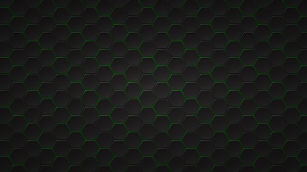Sfondo scuro astratto di piastrelle esagonali nere con spazi verdi tra di loro