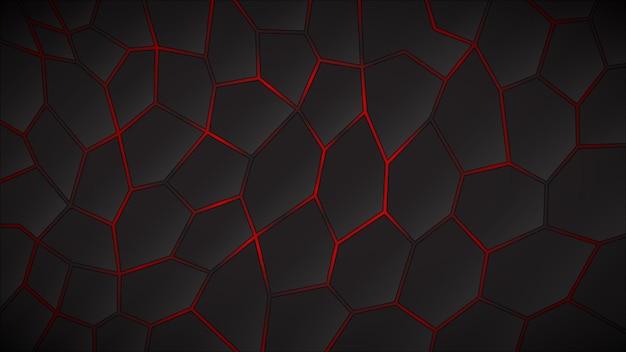 Fondo scuro astratto dei poligoni nei colori rossi