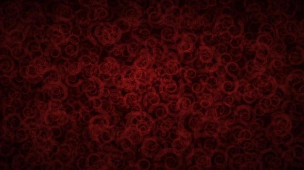 Astratto sfondo scuro di spirali traslucide con contorni chiari. fondale rosso sfumato con forme geometriche distribuite casualmente.