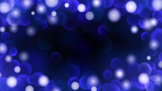 Astratto sfondo scuro con effetti bokeh nei colori blu