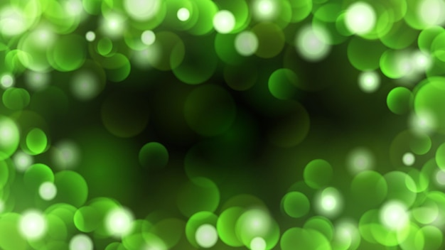 Sfondo scuro astratto con effetti bokeh in colori verdi
