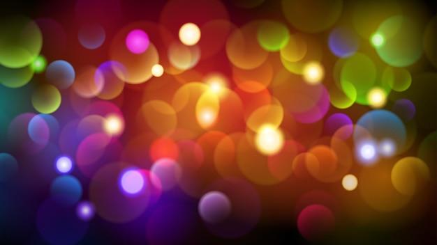 Sfondo scuro astratto con effetti bokeh in vari colori Vettore Premium