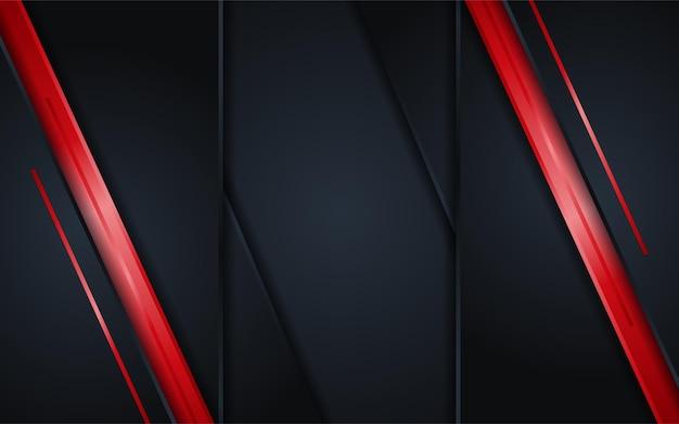 Astratto sfondo scuro con semplice elemento di linee rosse