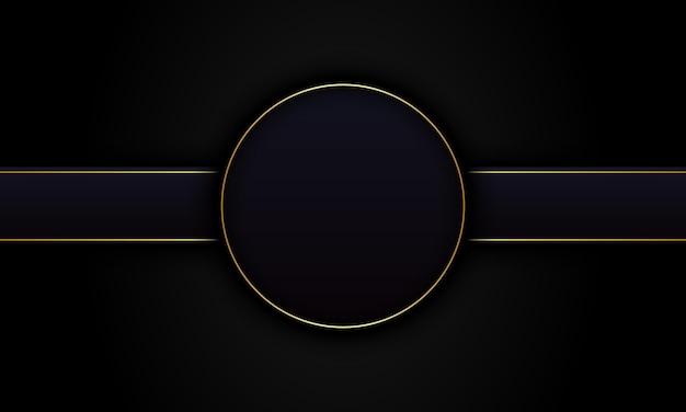Cerchio nero scuro astratto e strisce con sfondo linea dorata. design di lusso per il tuo banner.