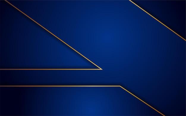 Combinazione astratta di sfondo blu scuro con elemento di linea oro