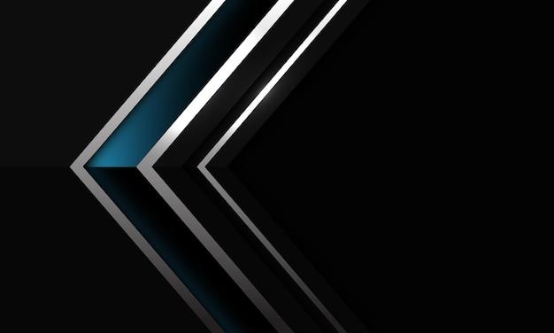 Linea d'argento lucida blu scuro astratta direzione dell'ombra della freccia sul nero