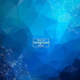 Astratto sfondo spazio poligonale blu scuro con punti e linee di collegamento. struttura di connessione. fondo di scienza di vettore. sfondo vettoriale poligonale. sfondo futuristico dell'hud.
