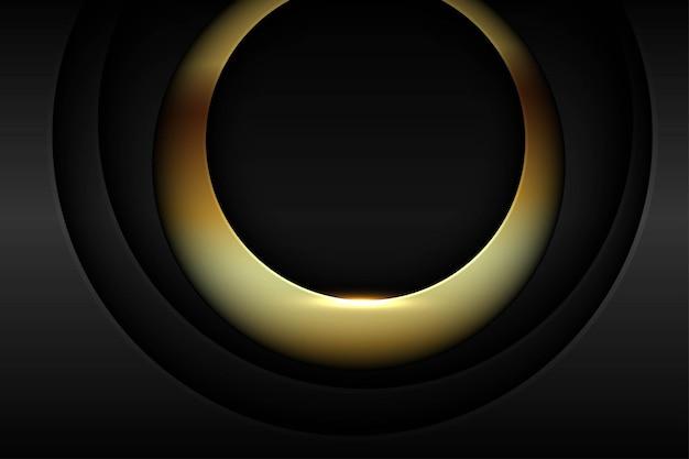 Strati di trama astratta del cerchio scuro con sfondo sfumato di luce dorata
