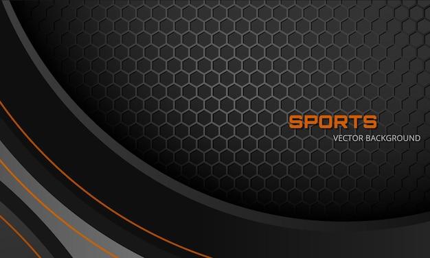 Sfondo sportivo grigio scuro astratto con fibra di carbonio esagonale e linee arancioni