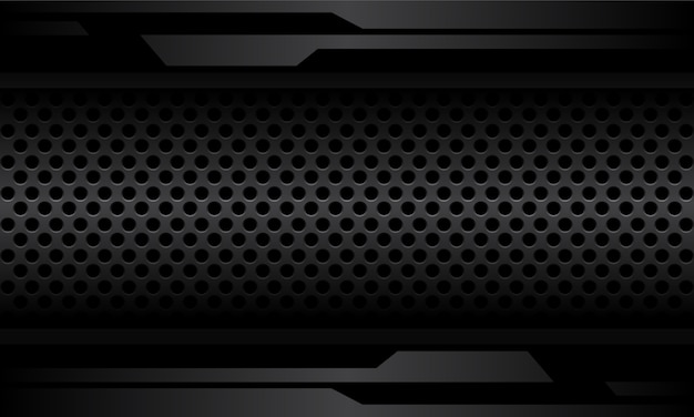 Linea cyber grigio scuro astratta sul futuristico moderno di progettazione metallica dello spazio vuoto della maglia del cerchio.