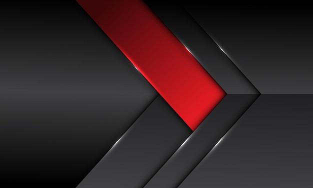 Direzione della freccia rossa metallica grigia scura astratta della freccia con il fondo futuristico moderno di progettazione dello spazio vuoto