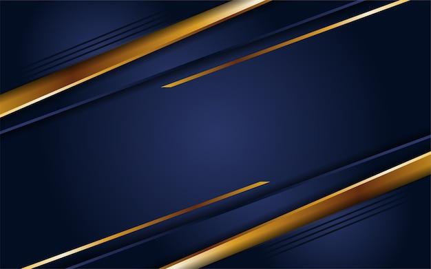 Astratto sfondo blu navy scuro con linee dorate