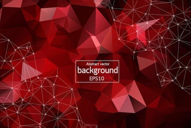 Astratto sfondo spazio poligonale rosso scuro con punti e linee di collegamento.