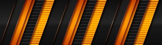 Tecnologia oscura astratta con banner arancione chiaro sfumato