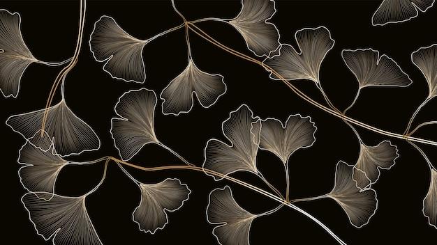Striscione nero decorativo astratto con foglie di ginkgo dorato per il design e l'imballaggio dei social media.