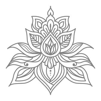 Illustrazione astratta e decorativa del loto floreale con stile orientale etnico
