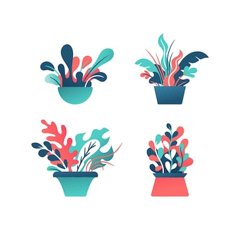 Insieme decorativo astratto di piante d'appartamento in vaso.