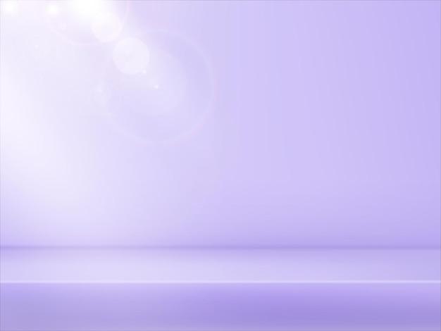 Piattaforma lilla delicata astratta, sfondo sfumato con fasci di faretti e luce bokeh. interno dello studio. sfondo delicato per la dimostrazione di capelli, ad esempio prodotti cosmetici.
