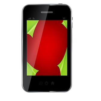 Telefono cellulare disegno astratto con sfondo natalizio. vettore io