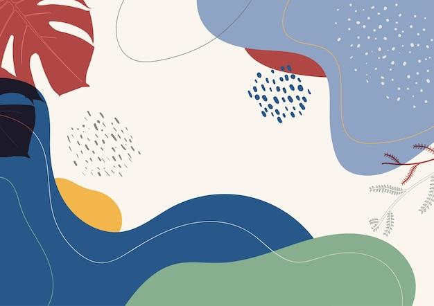 Disegno moderno della mano di disegno astratto. design sovrapposto di sfondo minimale di opere d'arte retrò. illustrazione