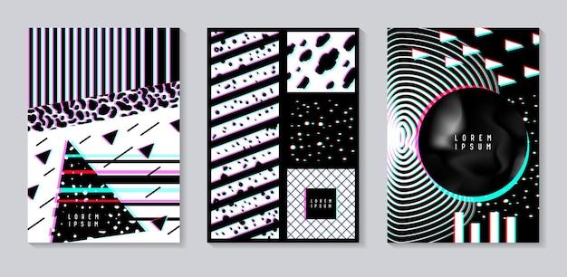 Insieme di disegno astratto con effetto glitch. modelli di sfondo alla moda con forme geometriche per poster, copertine, striscioni, volantini, cartelli. illustrazione vettoriale