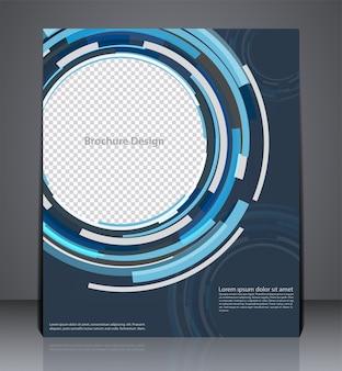 Progettazione astratta dell'aletta di filatoio dell'opuscolo di affari digitali nella dimensione a4, progettazione della copertura del layout nei colori blu