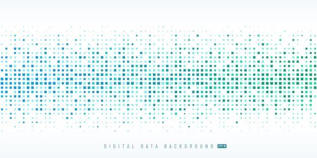 Tecnologia di dati digitali astratti quadrato sfondo azzurro e verde pixel.