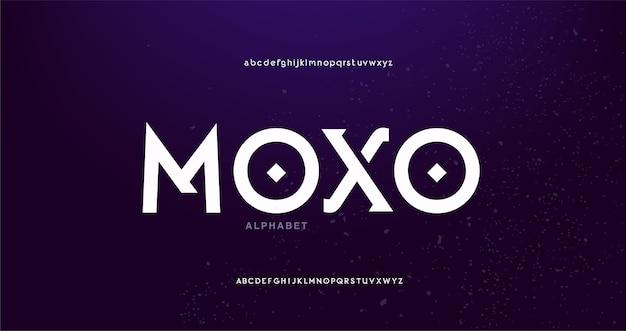 Font alfabeto moderno futuristico digitale astratto