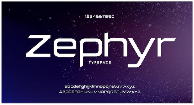 Caratteri alfabeto moderno futuristico digitale astratto