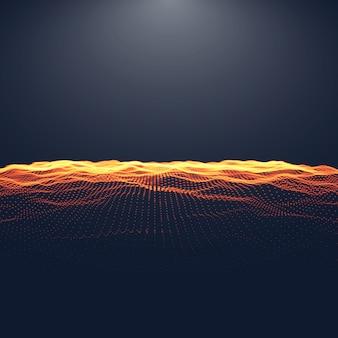 Paesaggio digitale astratto con particelle fluenti e luce superiore. sfondo cyber o tecnologico.