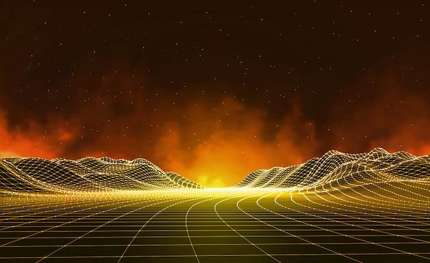 Paesaggio digitale astratto con le stelle sull'orizzonte. sfondo paesaggio wireframe. big data. sfondo retrò di fantascienza anni '80