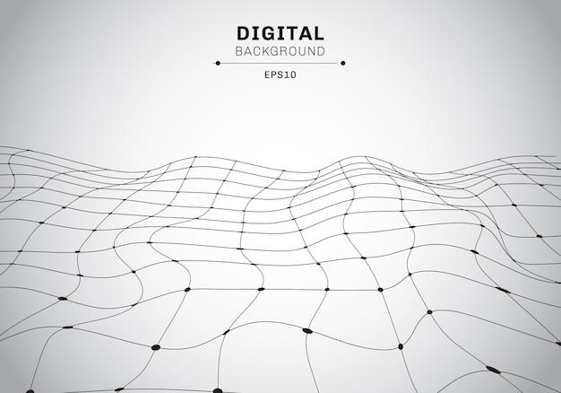 Fondo astratto del wireframe del nero di tecnologia digitale