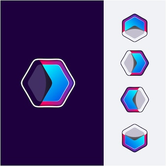 Logo esagonale di direzione astratta