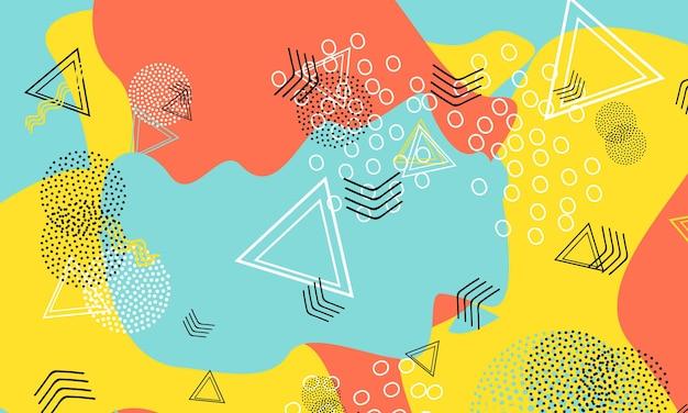 Fondo variopinto di divertimento di doodle astratto. modello di forme di colore. sfondo divertente splash.