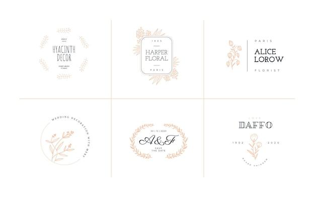 Modello di logo astratto fiori doodle