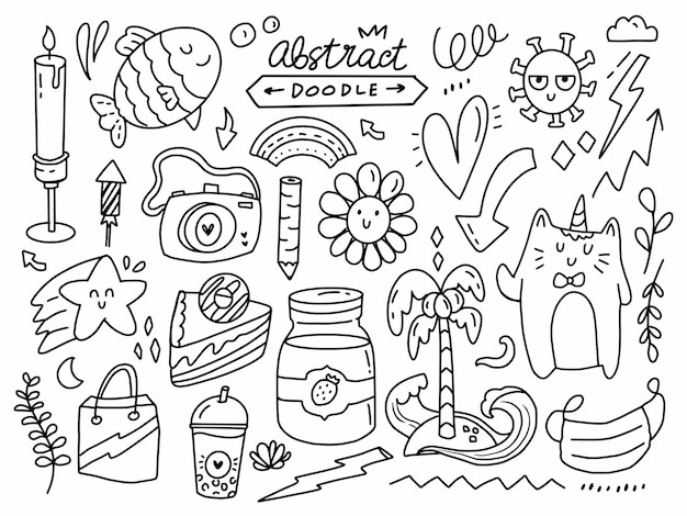 Elemento astratto doodle impostato in stile linea