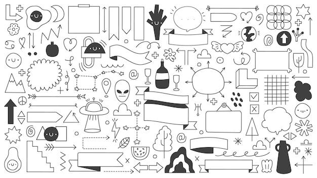 Forme astratte di doodle isolate su bianco