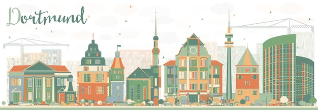 Orizzonte astratto di dortmund con edifici di colore. illustrazione di vettore. viaggi d'affari e concetto di turismo con architettura storica. immagine per presentazione banner cartellone e sito web.