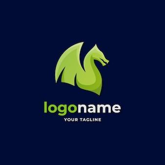 Logo astratto drago ala stile sfumato per attività di società di giochi e sport