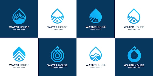 Modello astratto di progettazione di logo della casa di goccia, icona di vettore della casa dell'acqua
